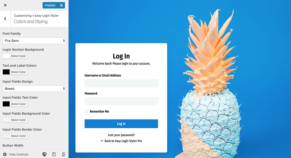 Customize WordPress admin login page easily using colorpickers